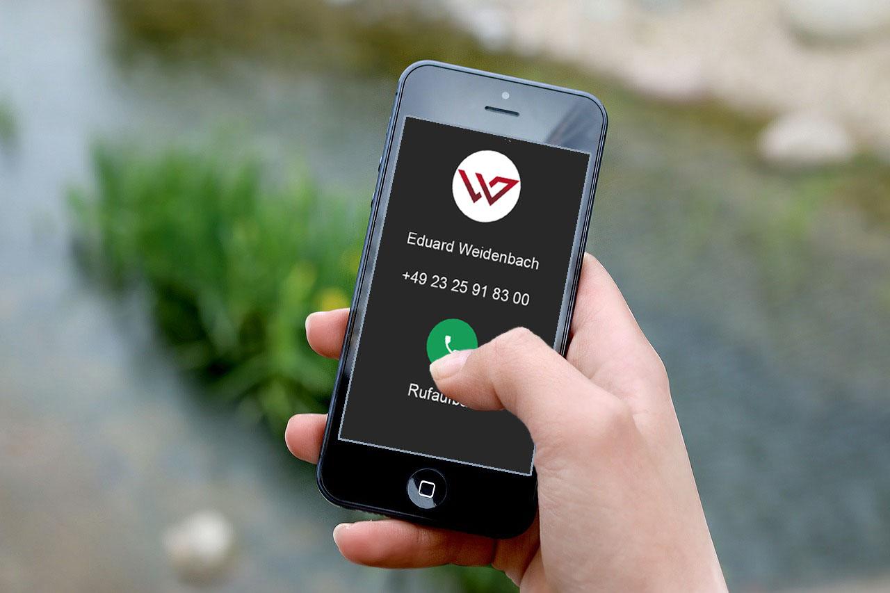 Kontaktaufnahme mit Weidenbach Immobilien per Smartphone