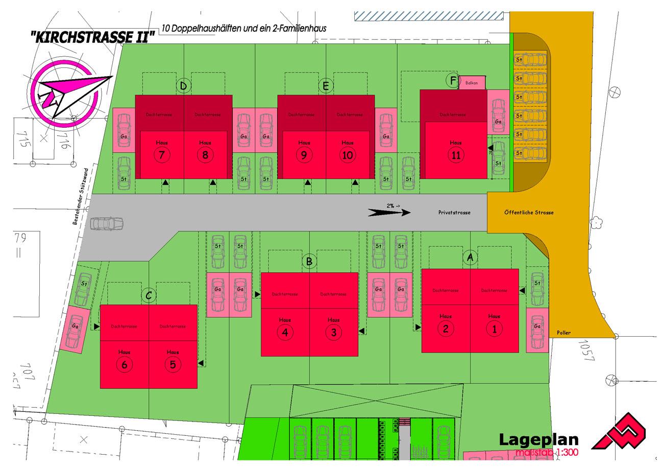 Lageplan des Neubauprojekt Kirchstraße Herne