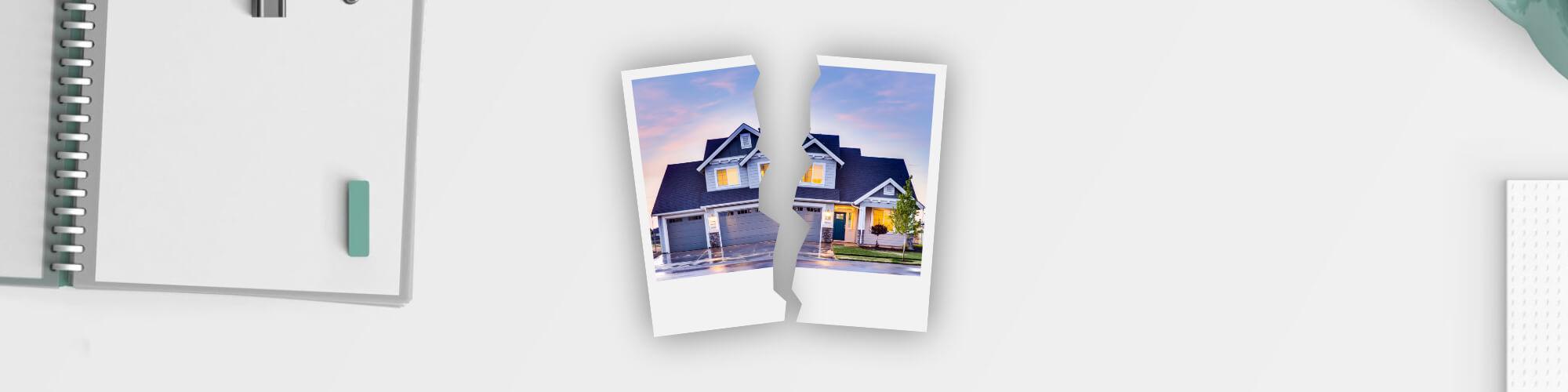Ein zerrissenes Foto einer gemeinsamen Immobilie